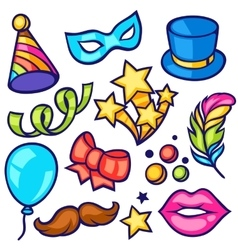 Celebration carnival set of icons and objects vector image