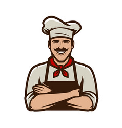 Chief cook in cap symbol or logo restaurant food vector