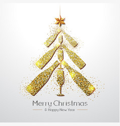 Christmas poster with golden champagne glass and vector