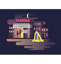 Cinema building night vector