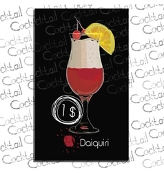 Cocktail Daiquiri with price on chalk board vector