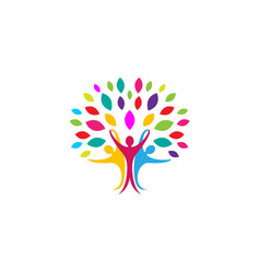 creative colorful people tree logo vector image
