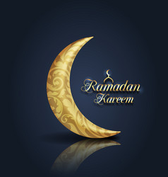 Crescent islamic for ramadan kareem golden half vector