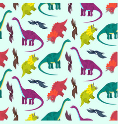 Cute cartoon multicolored dinosaurs pattern vector