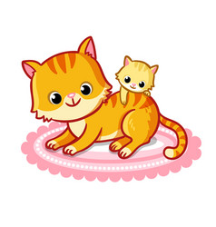 Cute cat with a kitten on a white background vector