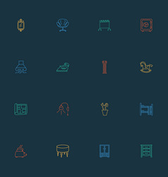 decor icons line style set with column wall vector image