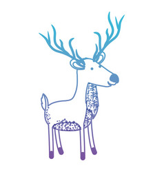 Deer cartoon with long horns in degraded blue to vector