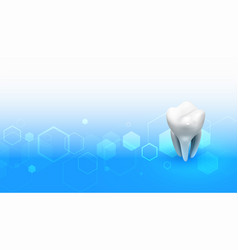 Dentist medical background with 3d tooth design vector