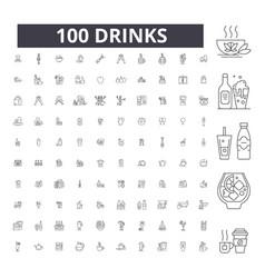 drinks editable line icons 100 set vector image