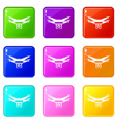 Drone video camera icons 9 set vector