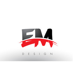 Em e m brush logo letters with red and black vector