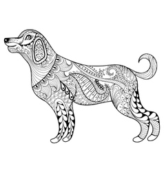 Entangle dog print for adult coloring page vector