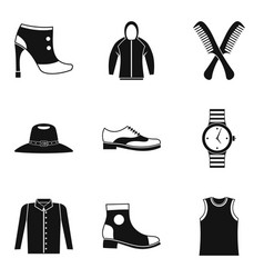 Fashion accessory icons set simple style vector