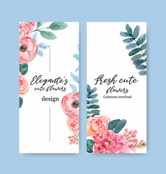 Floral charming flyer design with anemone peony vector