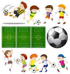 football players in different actions and vector image