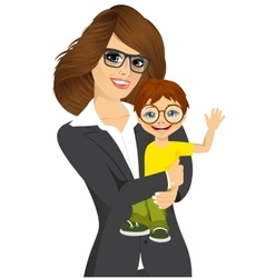 Friendly young businesswoman with her little baby vector