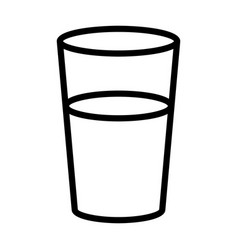 Glass or cup drinking water line icon vector
