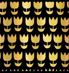 gold foil tulip flower seamless pattern vector image