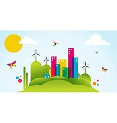 Green city spring time concept vector