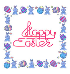 happy easter handwritten lettering with egg and vector image