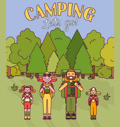 happy family go camping in vector image
