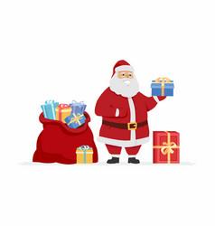 Happy santa claus with presents - cartoon vector