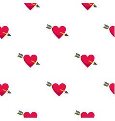 heart pierced by cupid arrow pattern seamless vector image