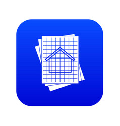 house blueprint icon digital blue vector image