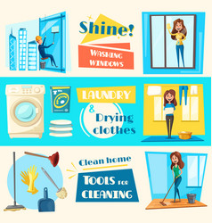 House cleaning service flat banners set vector