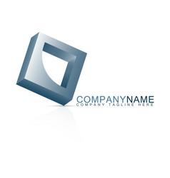 icon futuristic bluish square logo vector image
