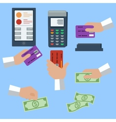 icon set of cash and cashless payment methods vector image