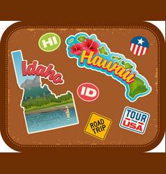 idaho and hawaii travel stickers vector image