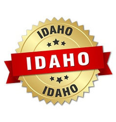 Idaho round golden badge with red ribbon vector