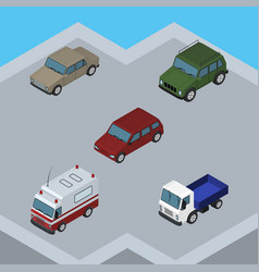 Isometric automobile set of auto lorry armored vector