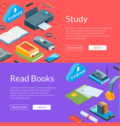 isometric online education icons web banner vector image