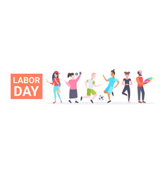 Labor day poster people of different professional vector