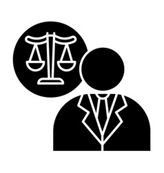lawyer black glyph icon attorney advocate legal vector image