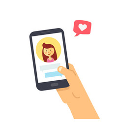 male hand holding smartphone with girlfriend vector image