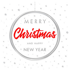 merry christmas and happy new year silver banner vector image