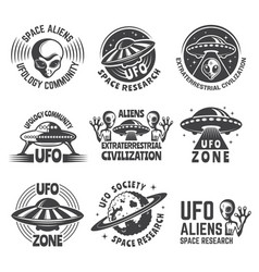 monochrome labels or badges with pictures of vector image