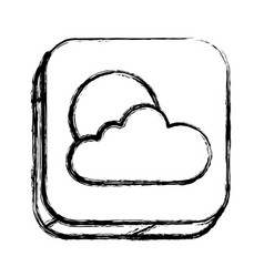 Monochrome sketch of square button with cloud and vector