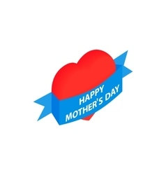 Mother Day Heart with blue ribbon isometric icon vector