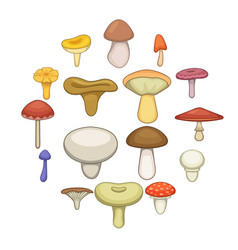 mushroom icons set cartoon style vector image