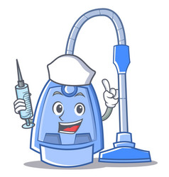 Nurse vacuum cleaner character cartoon vector