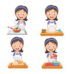 of woman at kitchen vector image