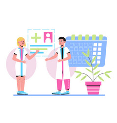 Online appointment to doctor calendar vector