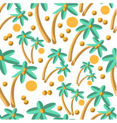 Palm tree with coconuts and sun seamless pattern vector