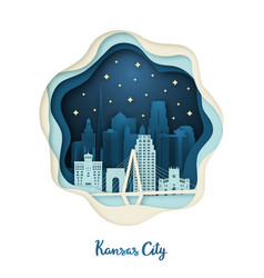 Paper art of kansas city origami concept night vector