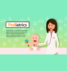 Pediatrician examine baby boy with stethoscope vector