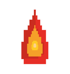 Pixel video game flame fire vector